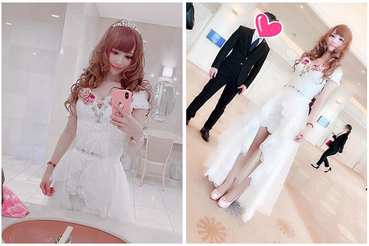 ふわふわの足元がフェミニンなキャバ嬢の白ドレス@natsukichi14さん