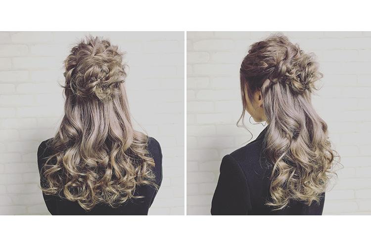 ゆるふわシニヨンがかわいいハーフアップヘア