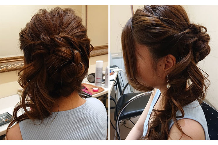サイドに流したスタイルが上品なキャバ嬢のドレスに合うアップの髪型
