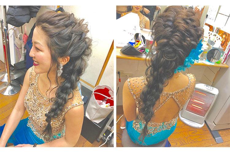 大人っぽい編みおろしのキャバ嬢のドレスに合うアップの髪型