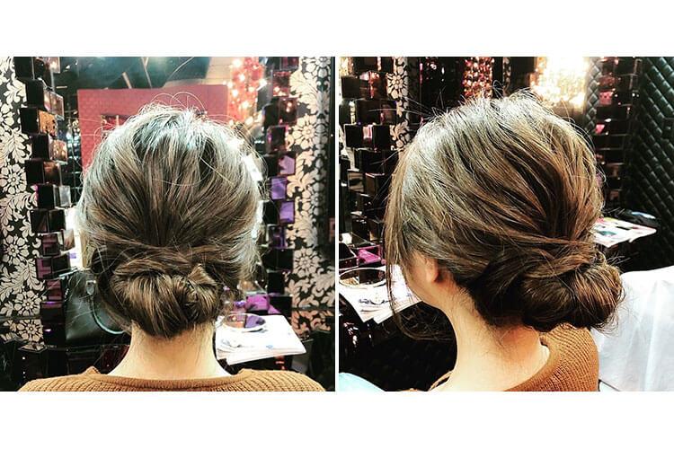 カラーを活かした抜け感のあるキャバ嬢のドレスに合うアップの髪型